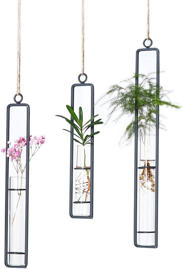 Hanging Glass Planter Water Iron Art Hydroponic Vase Transparent Test Tube Flower Hanging Bottle Home Decoration (3pcs-S,M,L)