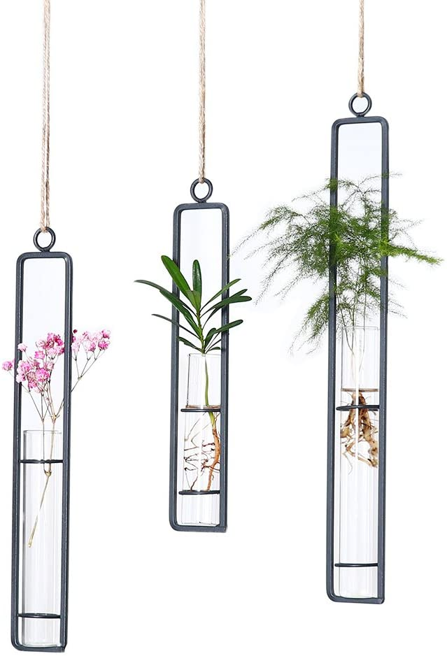 Hanging Glass Planter Water Iron Art Hydroponic Vase Transparent Test Tube Flower Hanging Bottle Home Decoration 3pcs-S,M,L
