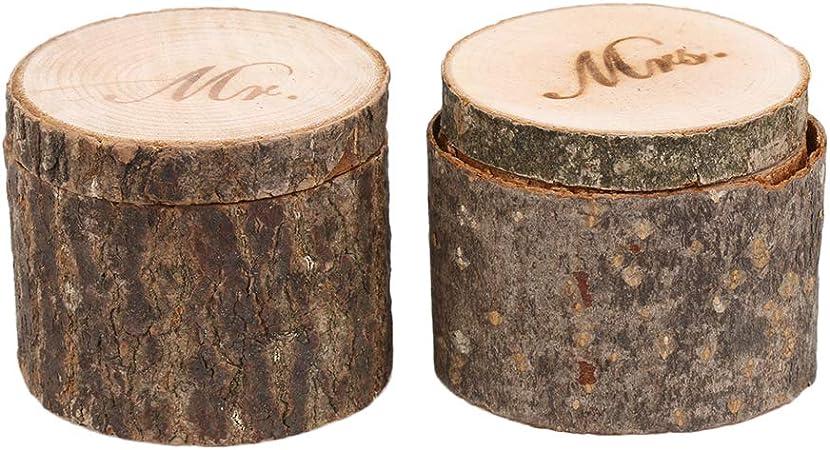 RDEXP - Caja de Madera cilíndrica para Anillos de Boda, 6 cm de diámetro: Amazon.es: Hogar