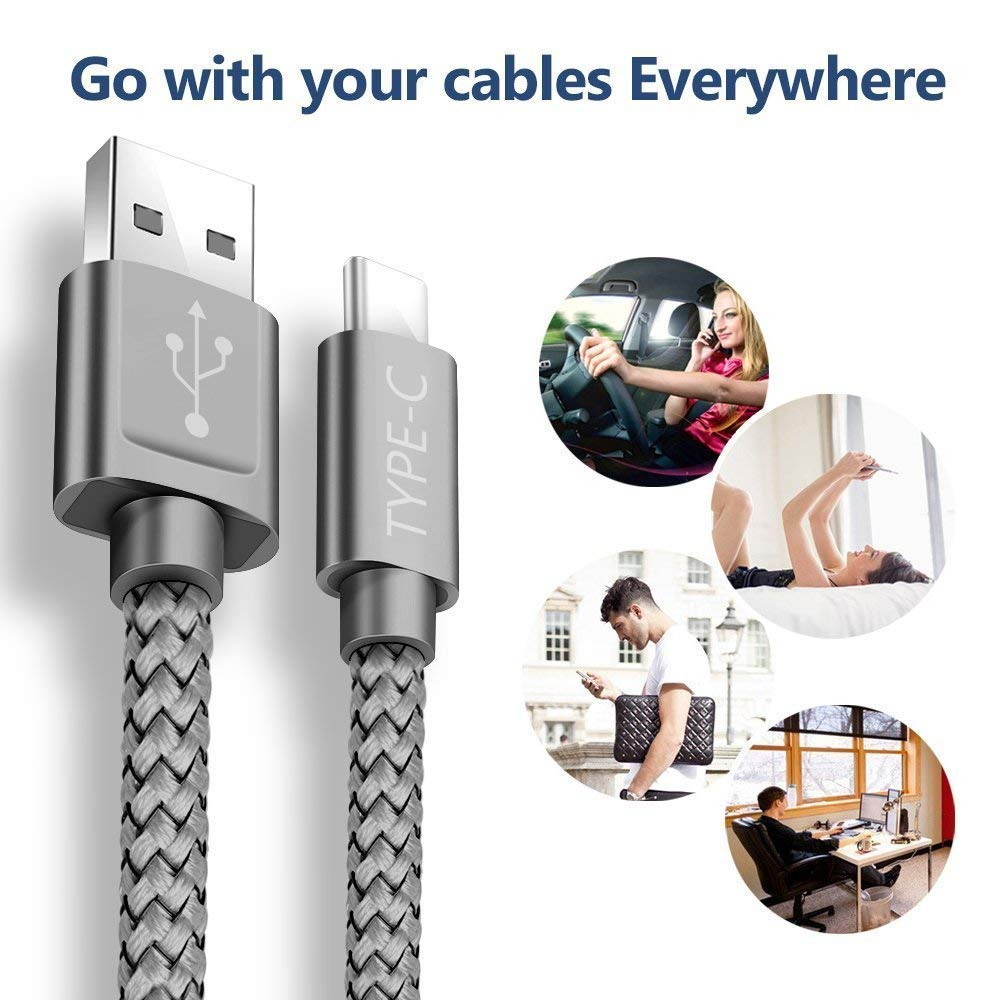 LG V30 V20 G6 5 Grey 6.6ft+3.3ft Nylon Braided Fast Charger Cord for Samsung Galaxy Note 9 Note 10 S10,Google Pixel 2 USB 3.0 Switch Snowkids USB Type C Cable OnePlus USB C to USB A
