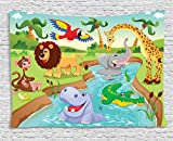 Ambesonne Kids Decor Tapestry, Cartoon Safari African Animals Swimming in The Lake Elephant Lions and Giraffe Art, Wall Hanging for Bedroom Living Room Dorm, 80 W X 60 L inches, Multi