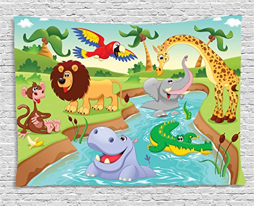 Ambesonne Children Tapestry, Cartoon Safari African Animals Swimming in The Lake Elephant Lions and Giraffe Art, Wall Hanging for Bedroom Living Room Dorm, 60 W X 40 L Inches, Blue Green