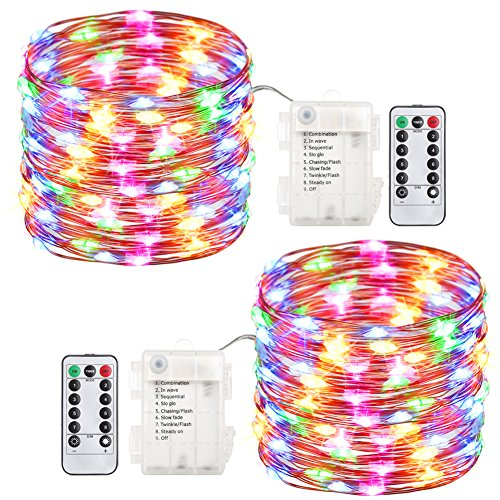 GDEALER 2 Pack Fairy Lights Halloween String Lights Battery Operated Waterproof 8 Modes Remote Control 60 Led String Lights 20 Foot Copper Wire Firefly lights Cool White (Multi Color)