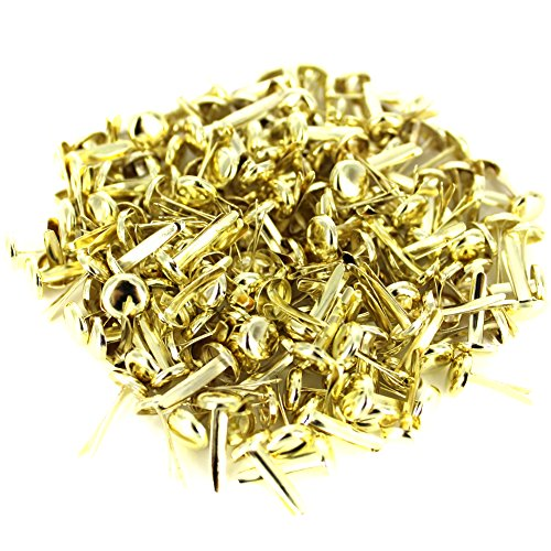 BESTCYC 200pcs 8x12mm Gold Tone Round Metal Brads for Pastel Scrapbooking Card DIY Paper Craft Making Stamping Gold Scrapbooking Brads