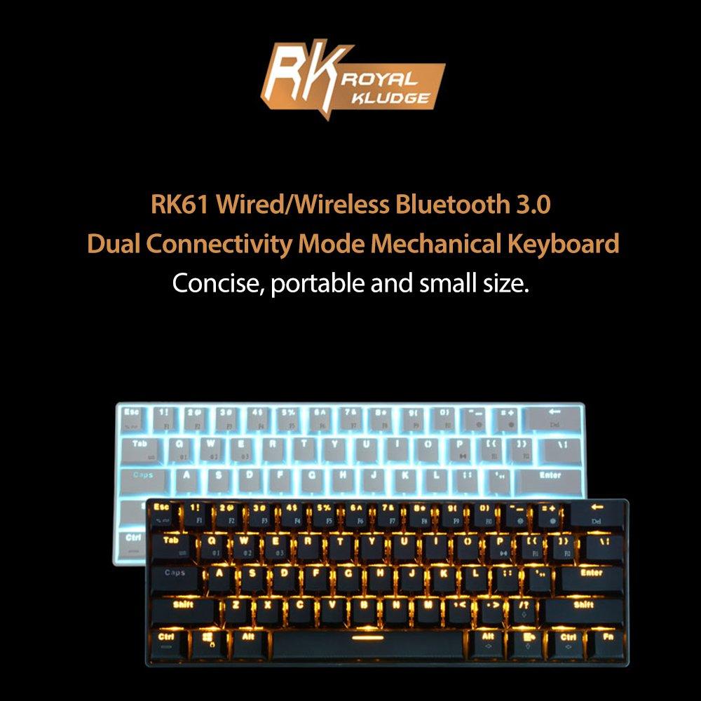 Amazon.com: Royal Kludge RK61 61 Keys Wired/Wireless Bluetooth 3.0 ...