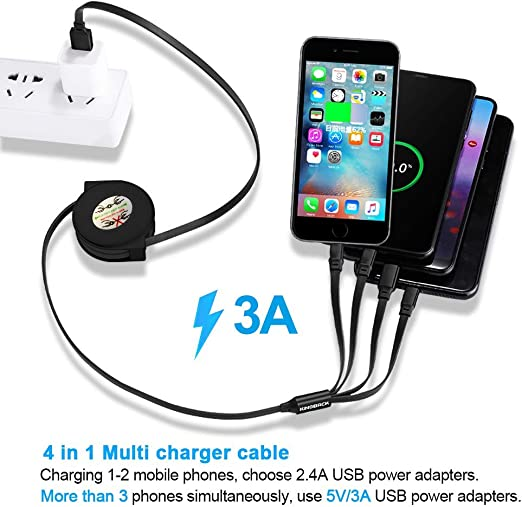 Retractable Multi Cable Beautiful Animal Peacock 2 in 1 Retractable Powerline Type C Data Cable Durable Charging Cable for Android Smartphones and More 4ft