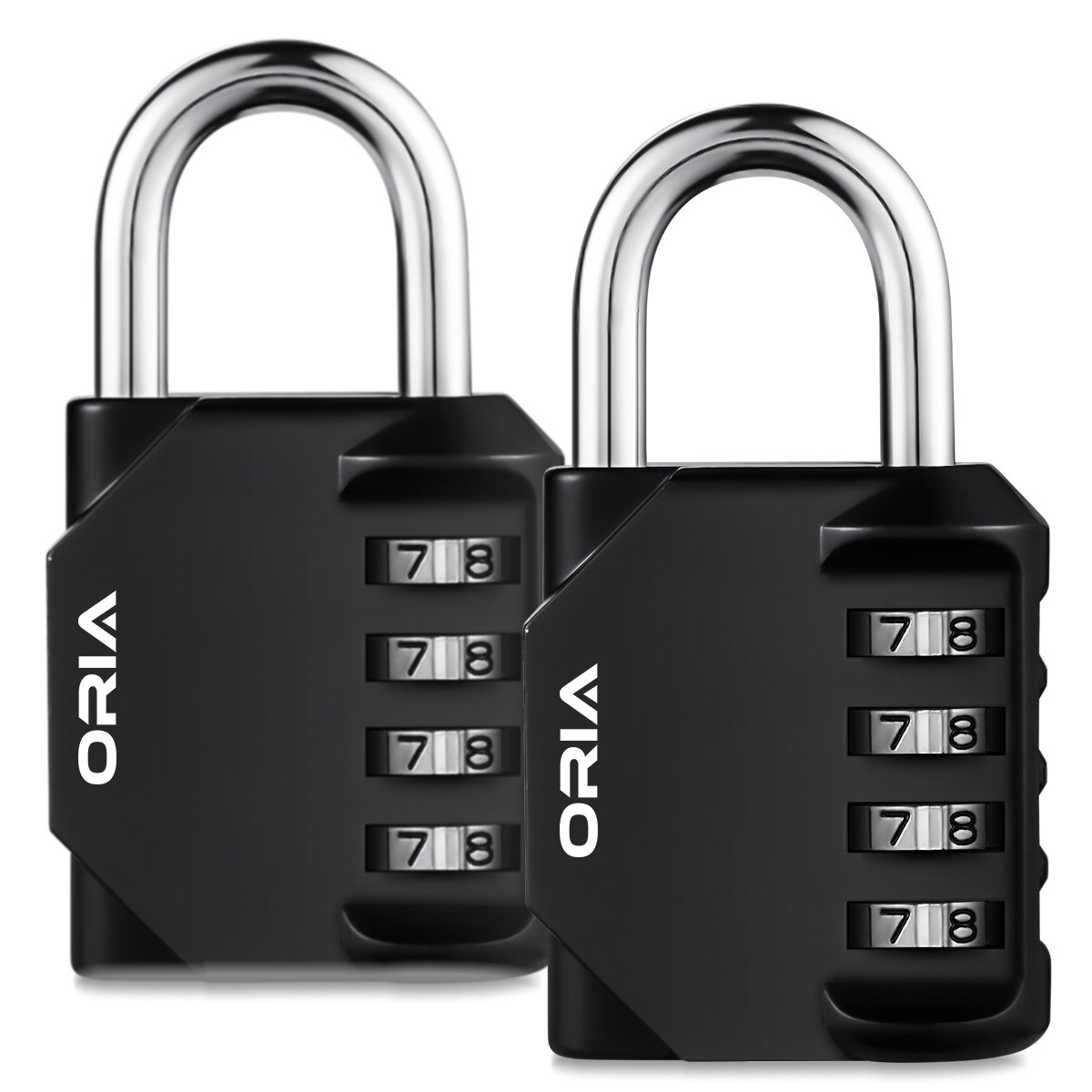 ORIA Combination Lock, 4 Digit Combination Padlock Set, Metal and Plated Steel Material for School, Employee, Gym or Sports Locker, Case, Toolbox, Fence, Hasp Cabinet and Storage, Pack of 2 by ORIA