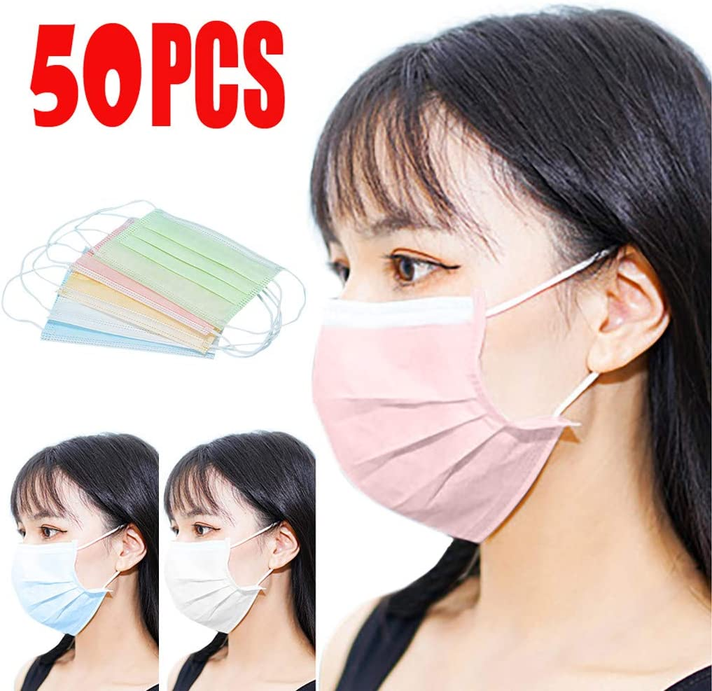50 Pcs Multicolor Disposable Face Bandanas 3-Ply Facial Covering with Adjustable Nose Clip and Ear Loops Breathable Non-Woven Fabric