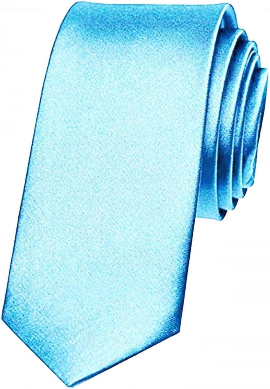 KIRALOVE Corbata para hombre - fina - azul claro - novio - satén ...