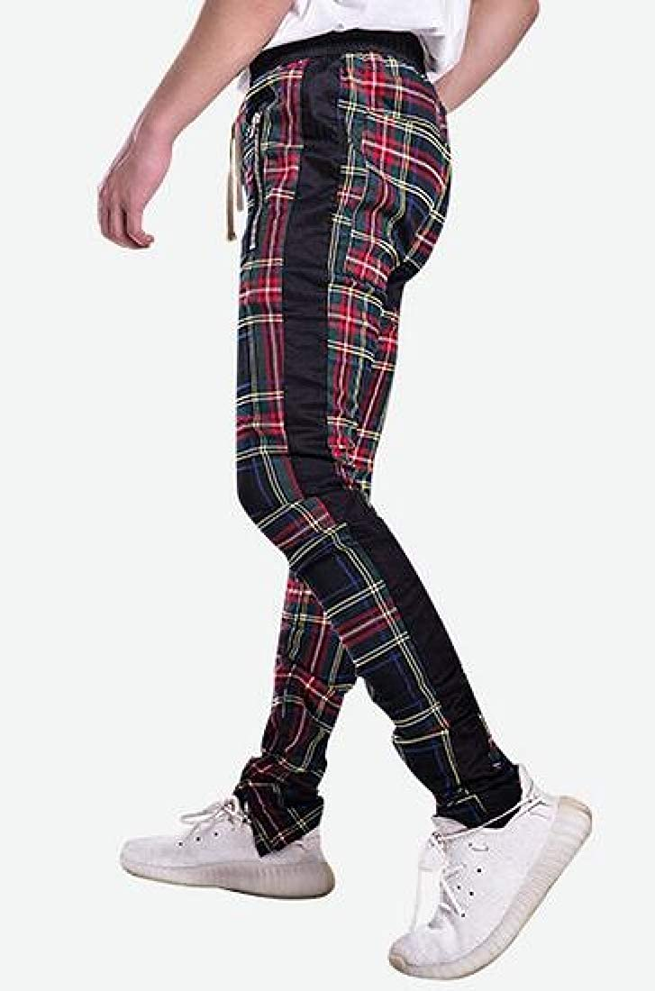 Domple Men Plaid Contrast Hip Hop Full-Zip Casual Harem Jogger Pants