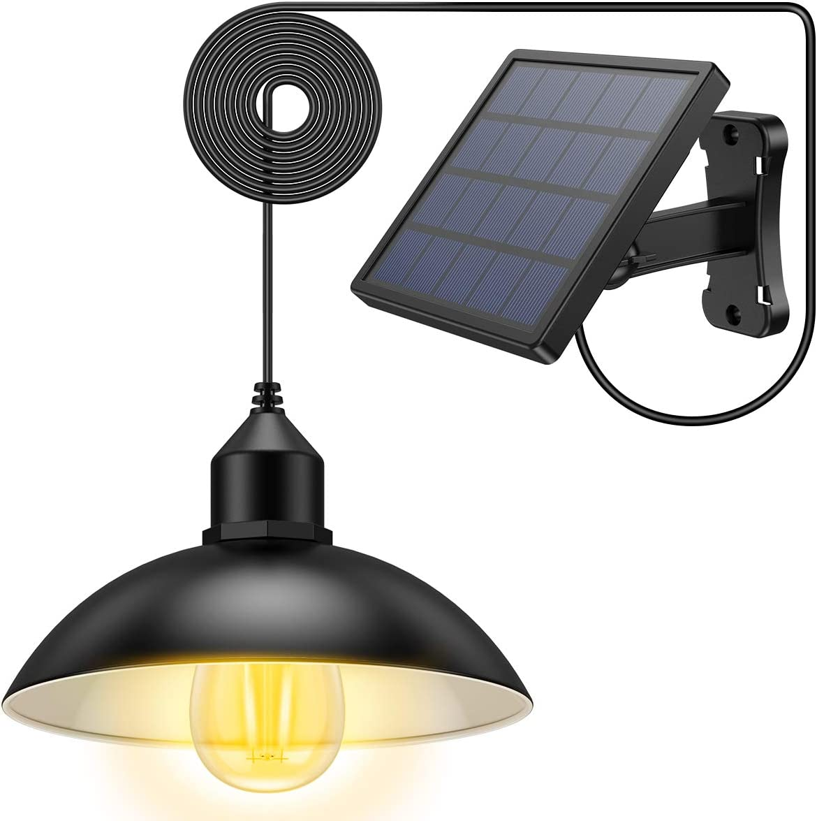 AMIR Solar Lights Outdoor, Waterproof Solar Light with Adjustable Solar Panel, Solar Chandelier for Courtyard, Garden, Patio, Corridor