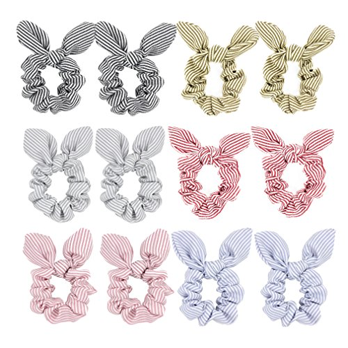 Pack of 12 Striped Bunny Ear Hair Scrunchies Bow Elastic Ties Ponytail Holder Women Accessories
