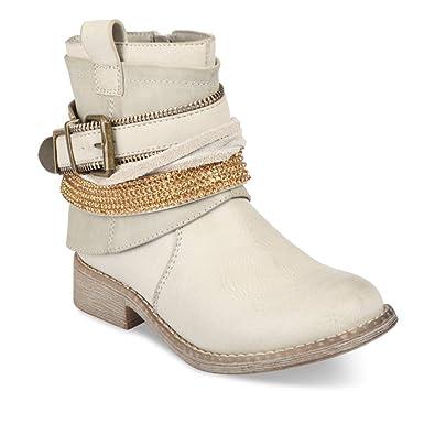 34108610b9d0c Bottines BLANC LOVELY SKULL Enfants Chaussea  Amazon.fr  Chaussures ...