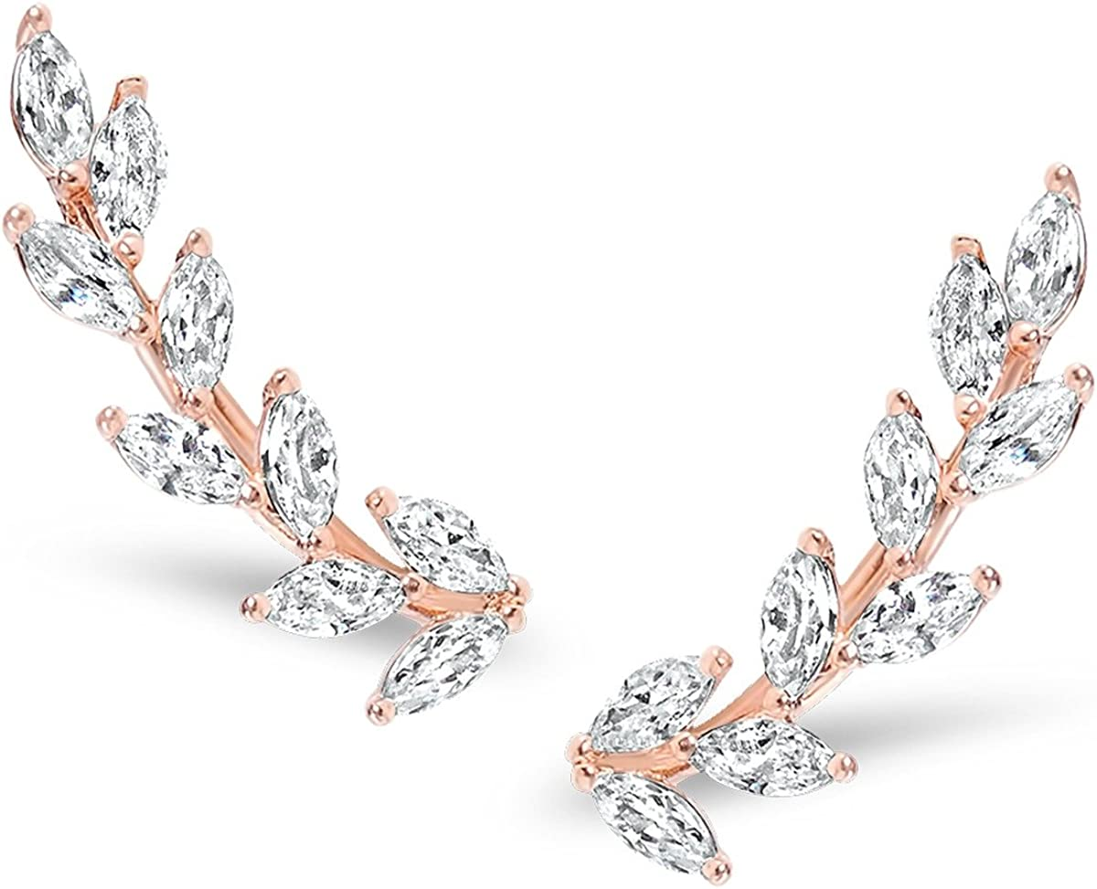 Humble Chic Tiny Leaf Ear Climbers - Hypoallergenic Delicate Crawler Cuff Stud Jacket Earrings for Women - Plated Branch or Crystal Flower, Safe for Sensitive Ears