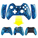 eXtremeRate® Anti Slip Textured Blue Bulge Design Convex Granule Effect Faceplate Front Housing Shell with Left Right Panels Handles Side Rails Replacement Parts for Microsoft Xbox One Controller