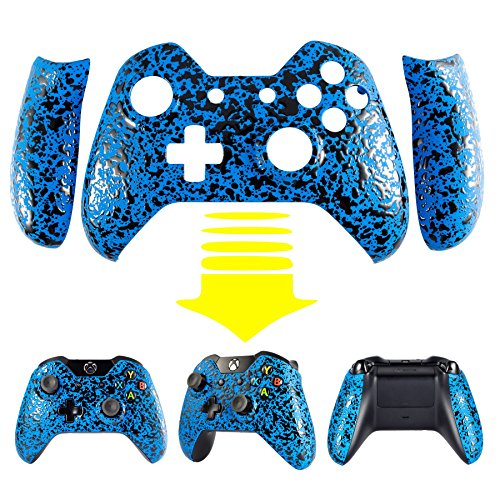 eXtremeRate® Anti Slip Textured Blue Bulge Design Convex Granule Effect Faceplate Front Housing Shell with Left Right Panels Handles Side Rails Replacement Parts for Microsoft Xbox One Controller (Xbox One Controller Panels compare prices)