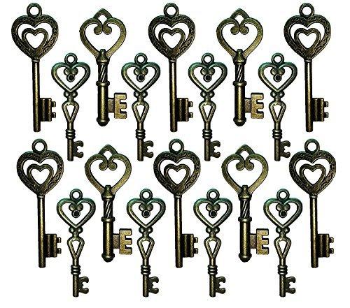 Heart Shaped Key Charm - Salome Idea 30PCS Assorted Vintage Skeleton Keys (Heart Shaped, Bronze)