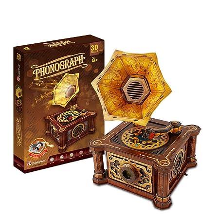 Hehilark Juguete Puzzle Tocadiscos Retro Creativo Juguetes ...