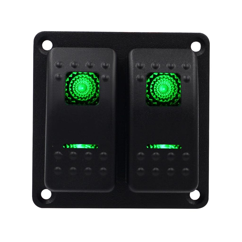 Green Dolity 2 Gang Waterproof Rocker Switch Control Panel with LED for Car Boat