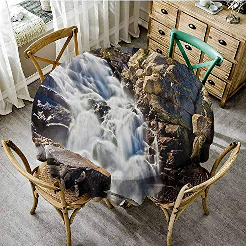 FamilyTablecloth, Great for Buffet Table, Stream Bedrock in Sunny Day Wild Lands Hike Mother Earth Motion, D71, Grey White