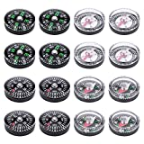 16 Pack High Quality Small Mini Button Compasses for Camping Hiking Traveling 20mm