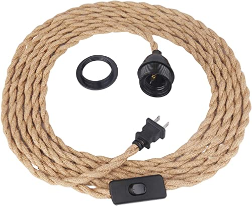 Yiliaw 15Ft Pendant Light Cord,Hanging Light Kit with Switch Plug in Hemp Rope Cord Hang Lamp Industrial Vintage Pendant Light Socket Set E26 Pendant Lamp Farmhouse, Retro Lamp Cable DIY