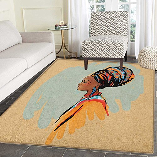 African Woman Non Slip Rugs Watercolor Profile Portrait of Native Woman with Ethnic Hairdo and Earrings Door Mats for inside Non Slip Backing 5