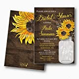 Rustic Sunflower Mason Jar Bridal Shower Invitations | Envelopes Included