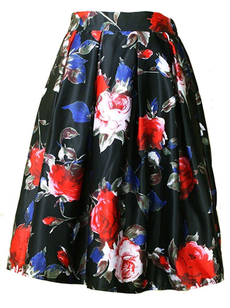Helan Donna A vita alta Ruffle gonna floreale Vintage SKIRTS15082101-41