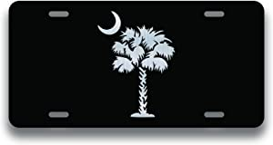 Decals Home Decor & More Palmetto Tree Vanity License Plate | Etched Aluminum | 6-Inches by 12-Inches | Car Truck RV Trailer Wall Shop Man Cave | VLP022