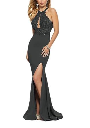 Women s Sexy Halter Lace Applique Beaded Mermaid Evening Dress Long  Backless Split Pro Gowns 2 Black 392e46235