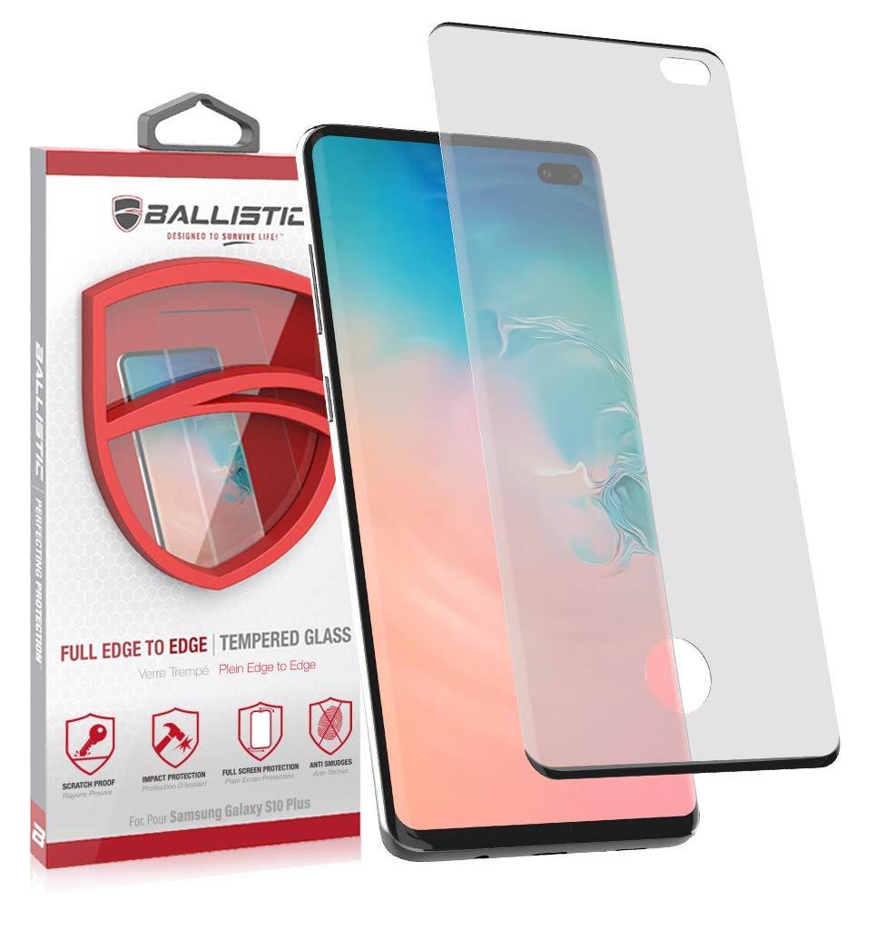 Ballistic, Samsung Galaxy S10 Plus 6.4, Full Curved Edge Premium Tempered Glass Screen Protector, [Edge to Edge Coverage][Fingerprint ID Sensor Cut], Anti-Scratch, Bubble-Free Case Friendly Protector