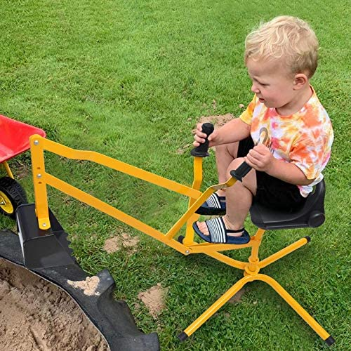Hand-Mart Kids Ride On Sand Digger, 360° Rotatable Excavator Toy Crane with Base for Sand, Dirt, Snow, Beach, Heavy Duty Steel Digging Toys for Boys Girls, Sandbox Digger for Kids Outdoor
