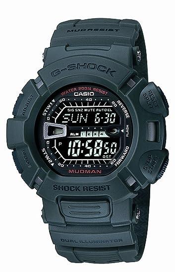 Reloj AlarmaCronómetroLuz Casio De Verdecon Caballero 3ver Resina CuarzoCorrea G 9000 Color Shock EI9D2eWHY