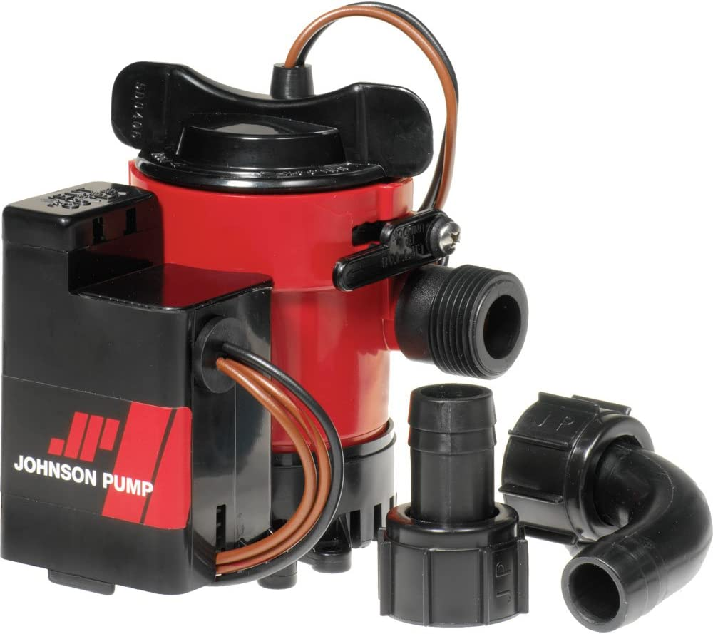 Johnson Pumps 05503-00 12V 500 GPH Cartridge Combo Bilge Pump,red,black