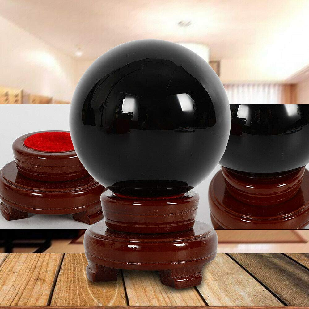 MONIPA Obsidian Sphere Crystal Ball, 100MM Natural Black Grounding Ball Healing Stone w/Wooden Stand Base for Meditation, Crystal Healing, Divination Sphere Ornaments Home Room Decoration