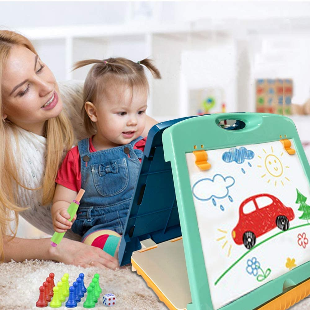 QDH Kids Tabletop Easel Double Sided Whiteboard & Chalkboard Art Easel For Kids Painting Writing Board Portable Toddler Art Board Set Educational Toys Travel Art Supplies For Boys Girls