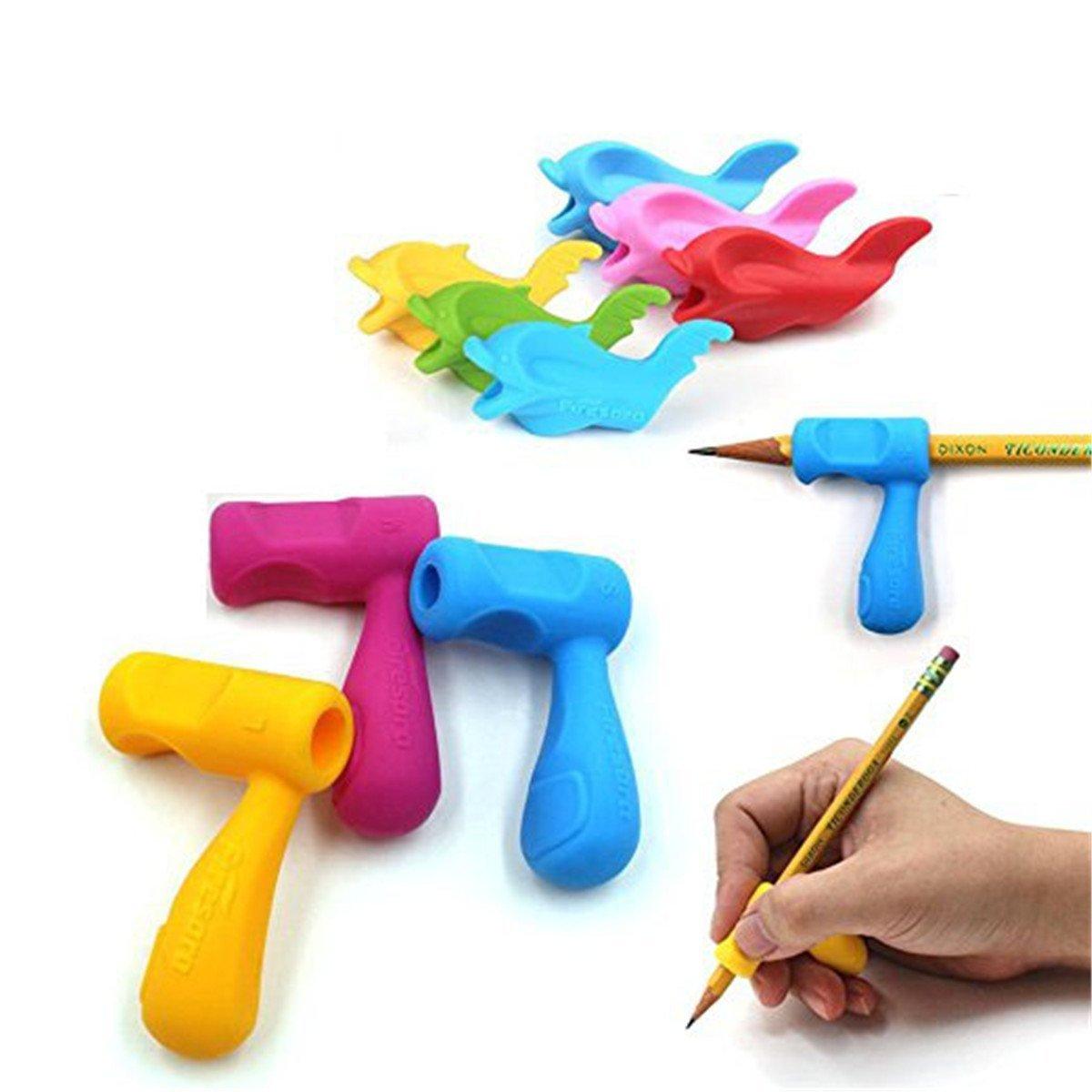 Pencil Grips wommty 12/l/ápices de empu/ñaduras de silicona ergon/ómico y pinza para ayuda delf/ín y mango estilo l/ápices formaci/ón Grip soporte para guarder/ía ni/ños estudiantes adultos diestros los