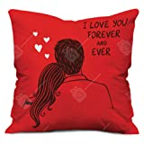 Valentine Gifts for Boyfriend Girlfriend Love Printed Cushion 12X12 Filled Pillow Red I Love U Forever Perfect Gift for Him Her Soulmate