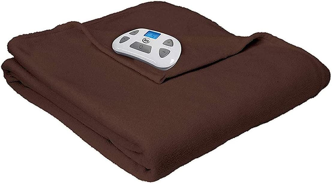 Gray Twin Serta Brushed Fleece Heated Electric Blanket with Programmable Digital Controller
