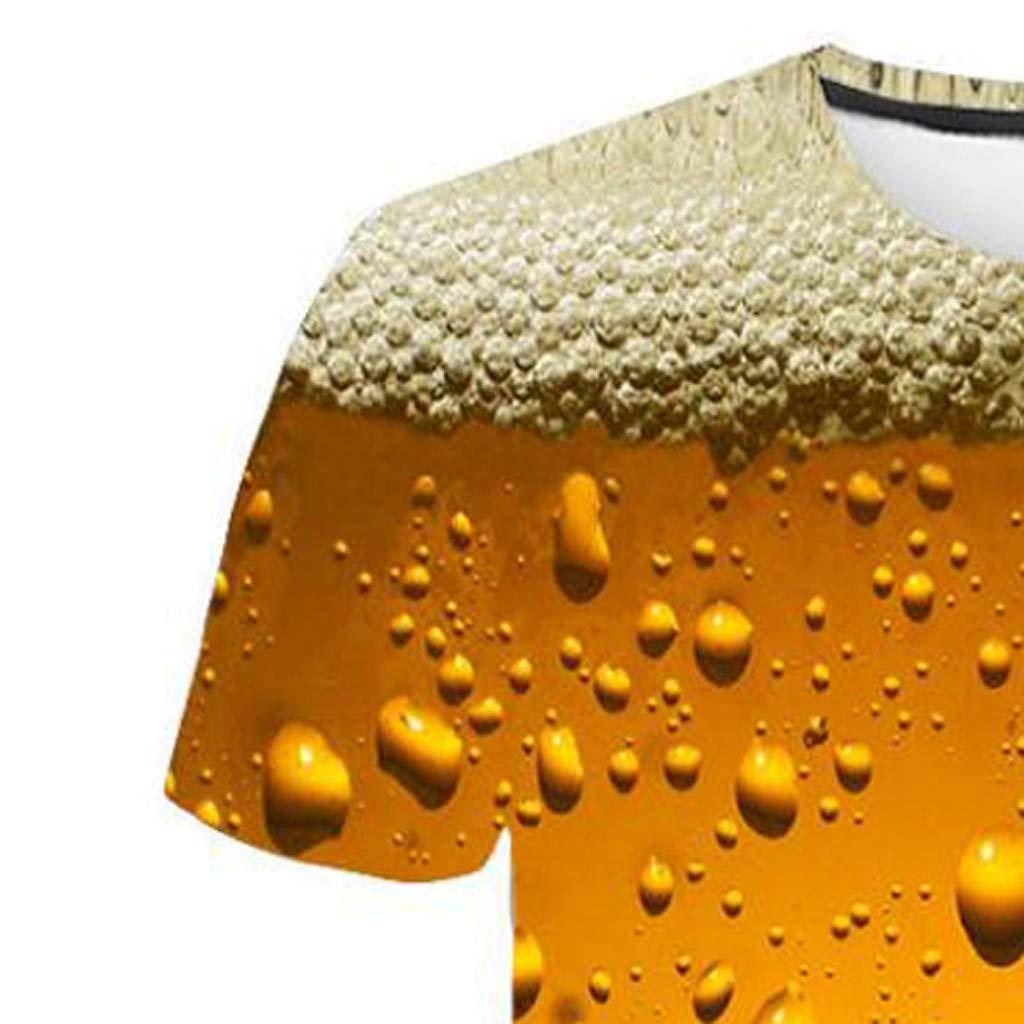 Sothread Mens Fashion Summer Casual 3D Flood Printed Short-Sleeved O Neck T-Shirt Top Blouse