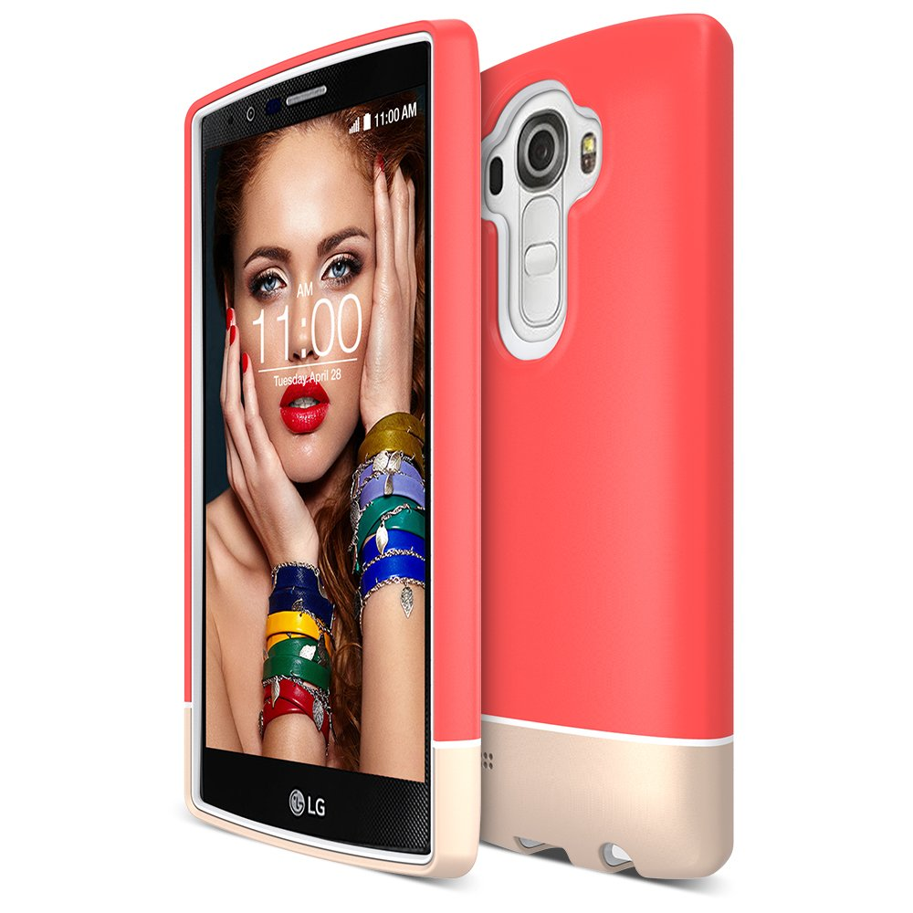 LG G4 Case, Maxboost [Vibrance Series] Protective Soft-Interior Scratch Protection Metallic Finished Base with Vibrant Trendy Color Slider Style for LG G4 (2015) - Italian Rose/Champagne Gold