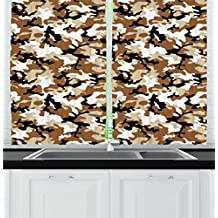 Camouflage Kitchen Curtains by Ambesonne, Abstract Army Military Style in Various Shades of Brown Pattern, Window Drapes 2 Panels Set for Kitchen Cafe, 55W X 39L Inches, Light Caramel Tan Black