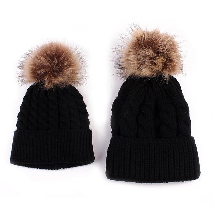 749174036e3 Amazon.com  Love Sweety Mom and Baby Knitting Fur Hat Winter Warm ...