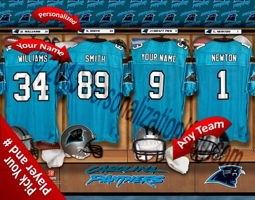 Carolina Panthers Team Locker Room Clubhouse Personlized Officially Licensed NFL Photo Print ()