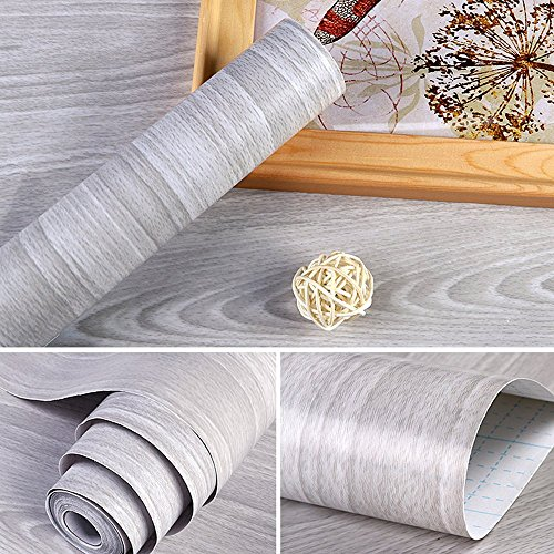 Shelf Paper For Kitchen Cabinets: SimpleLife4U Light Gray Wood Grain Contact Paper Self