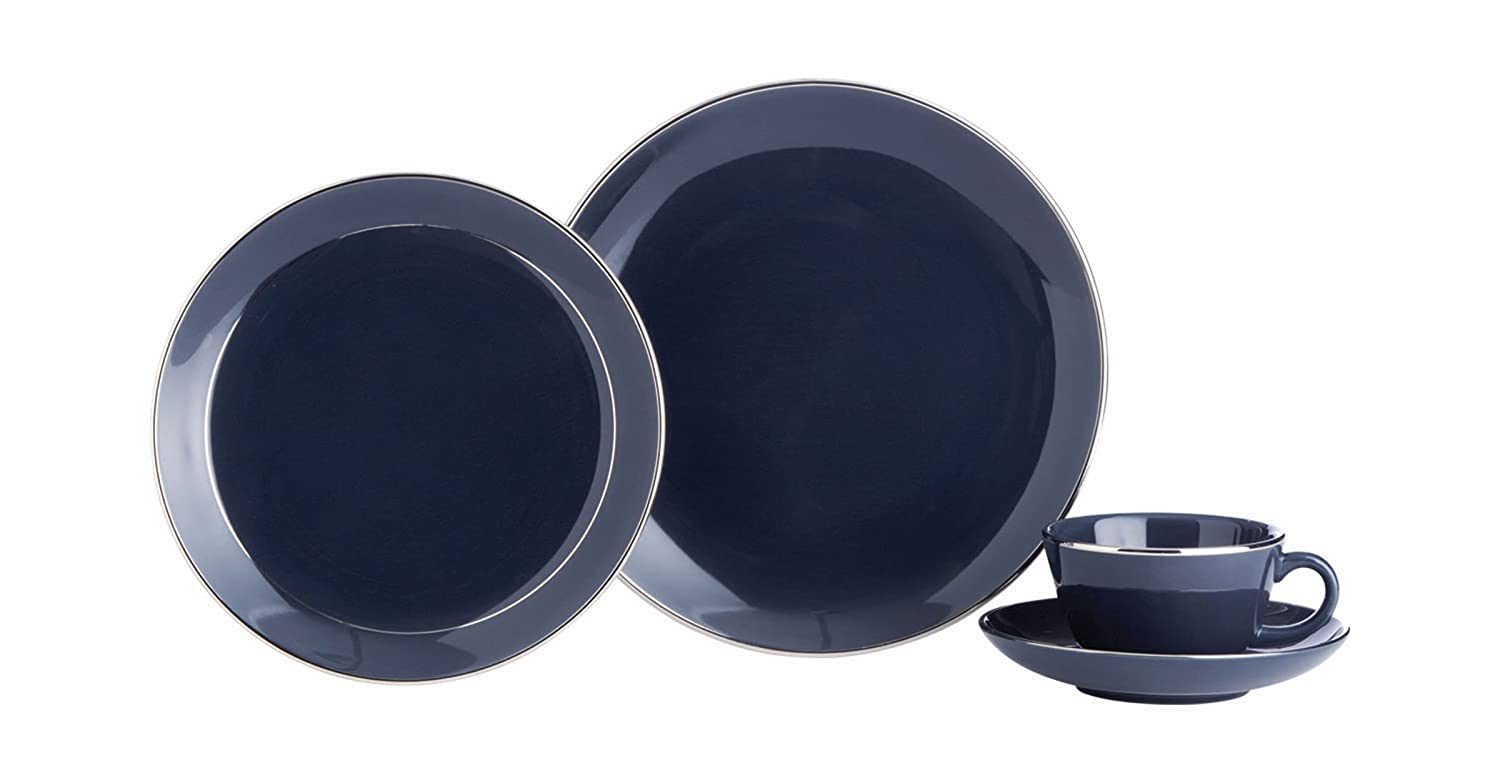 Amazon.com | Thomas Ou0027Brien Tiago Slate Blue 5 Piece Fine Porcelain Dinnerware Set Dish Sets Dinnerware Sets  sc 1 st  Amazon.com & Amazon.com | Thomas Ou0027Brien Tiago Slate Blue 5 Piece Fine Porcelain ...