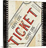 admit one ticket wall art - Pela Studio Premium Thick-Wrap Canvas Wall Art Print entitled Admit One with Border 30