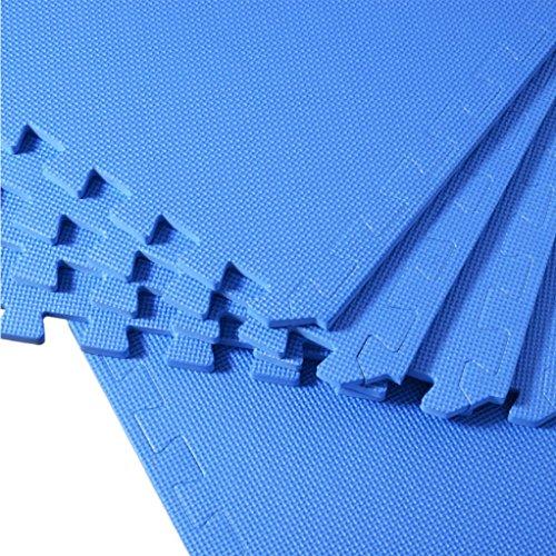 Ameride 8 Pieces blue 2'x2′ Foam Interlocking Anti-fatigue Exercise & Fitness Gym Soft Yoga Trade Show Play Room Basement Square Floor Tiles Borders