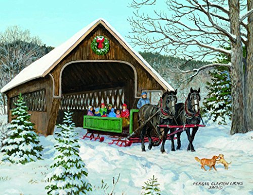 Lang Sleigh Ride Boxed Christmas Card by Persis Clayton Weirs, (Lighthouse Christmas Cards)